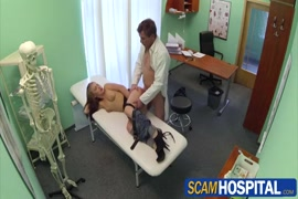 Gorgeous brunette gives a hot blowjob and gets fucked hard on the massage table.