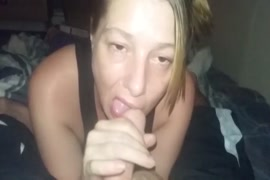 Sexy milf gives a blowjob for the first time.