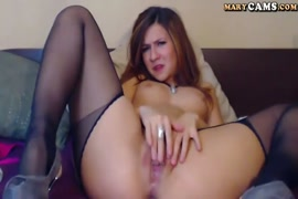 Sexy black haired girl masturbate on live webcam.