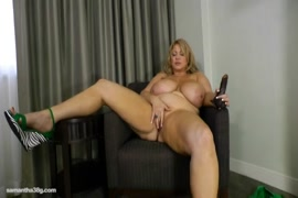 Horny milf fucks herself with dildo until she squirts.