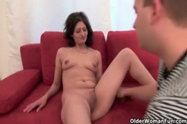 Naughty mature mom enjoys rough sex with young.