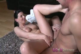 My sexy and busty stepmom makes him cum hard with anal creampie.