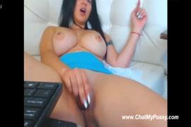Masturbation and cumshot with dildo on her big boobs.