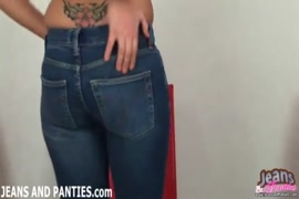 Cum on the girl in blue jeans.