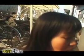 Naked and horny asian girls playing in public in the mall.