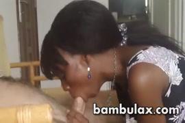 Gorgeous ebony teen gives sloppy blowjob.