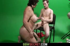 Bbw sucks and jerks off his huge cock for your pleasure.
