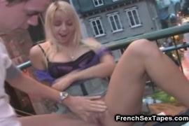 Teen gets her pussy pounded hard on the stairs.