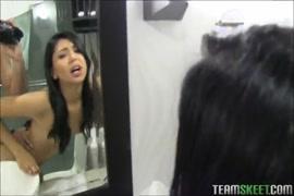 Tatted latina teen masturbate in the bathroom.