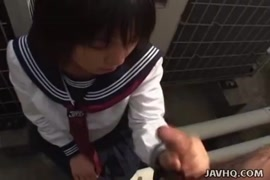 Cute japanese schoolgirl sucks cock in the toilet.