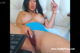 Masturbation and orgasm with the huge dildo.