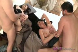Tall milf katie gold takes two thick cocks.