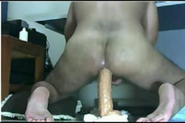 Big cock and cum with the help of a huge dildo.
