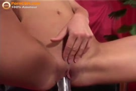Sexy red head girl fucks her pussy with dildo.