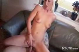 Barely 18 year old gets fucked doggy style with creampie.