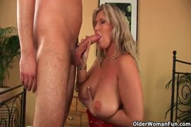 Femmale stripper gets a load of cum on her tits.