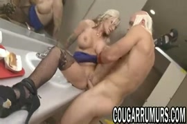 Sexy blonde milf with tight pussy takes huge cock.