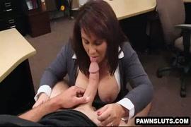 Busty brunette sucks her lovers cock.