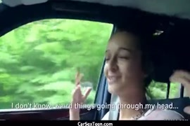 Fucking a hot teen in the back seat of car.