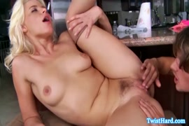 Shemale in stockings and cumshot on her belly.
